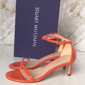 Stuart Weitzman Patent Leather Red Heels Sandals